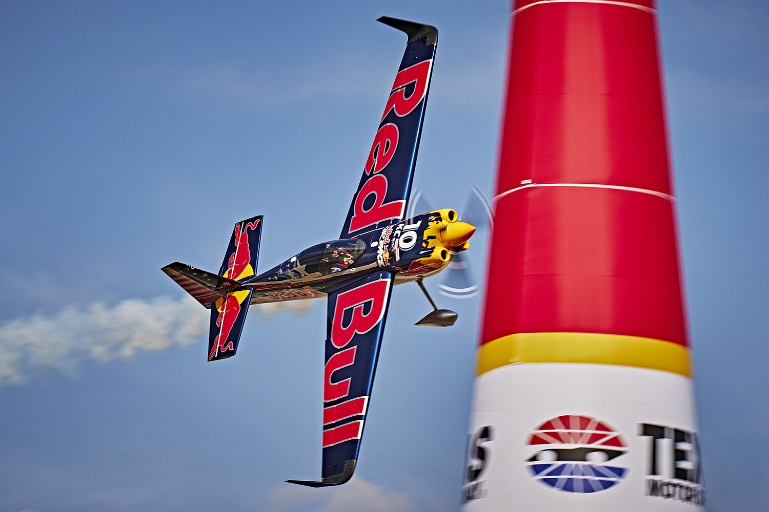 Kirby Chambliss of the United States performs during the training of the seventh stage of the Red Bull Air Race World Championship at the Texas Motor Speedway in Fort Worth, Texas, United States on September 25, 2015. Andreas Langreiter Red Bull Content Pool P-20150926-00065 Usage for editorial use only Please go to www.redbullcontentpool.com for further information.